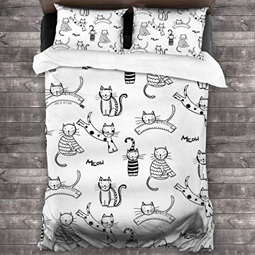 WEQIANGHAN Cats Meow Design Duvet Cover Set, Soft 100% Microfiber Bedding Set for Women Men Boys and Girls Bedroom Decoration 3 Pieces Bed Set(1 Duvet Cover 2 Pillowcase)