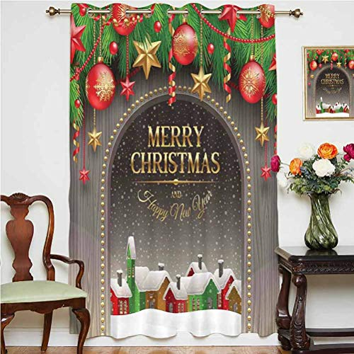 Christmas Decorations Wide Blackout Curtains Classic Rustic Design Season Greetings Golden Letters Village Ornaments Grommets Panels Printed Curtains ,Single Panel 52x63 inch,for Bedroom Multi