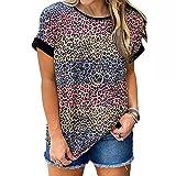 Camiseta de Manga Corta Suelta con Estampado de Leopardo de Verano Camiseta con Cuello Alto y Cuello Redondo para Mujer