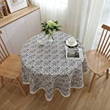 famibay Vintage Round Table Cloth for Kitcen Table Square Tablecloth Indoor Outdoor Decorative Macrame Lace Tablecloth Navy Blue Jacquard Damask Design(60 Inch, Navy Damask)