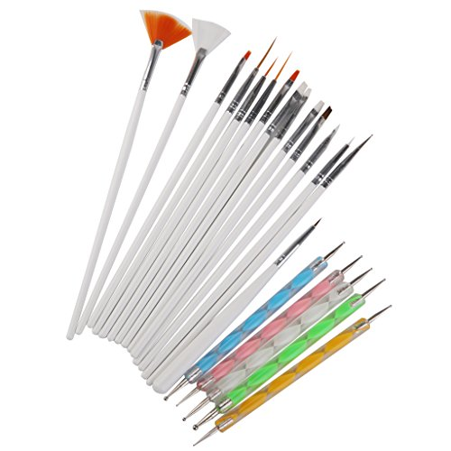 SM SunniMix Ongles Peinture D'art Brosse à Ongles Parsemant Dessin à La Plume Poli Set 20pcs