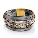 Tamaris C02130040 Damen Armband aus Echtleder Steinchen in roségold Verschluss, Groesse OneSize, grau
