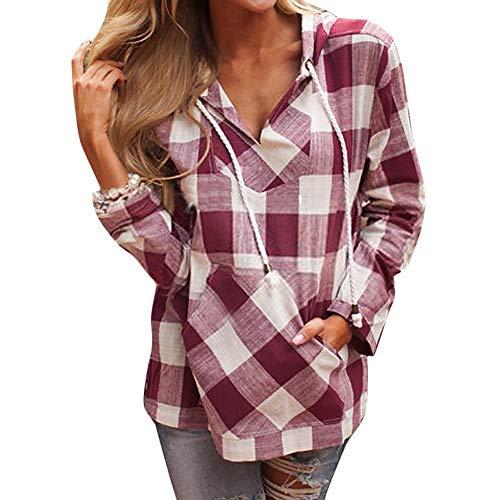 OverDose Damen Herbst-Feiertags-Art-Art- und Weisefrauen-Pullover-T-Shirt Karierte Taschen-Hoodie-Lange Hülsen-Blusen-Spitzenstrand-datierend dünne Pullover(Rot,52 DE / 5XL CN)
