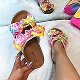 YYFF Sandales Bout Ouvert Femme,Sandales à la Mode en liège, Pantoufles à nœud imprimé-Rose_41,Hommes Sandales de Piscine Plage