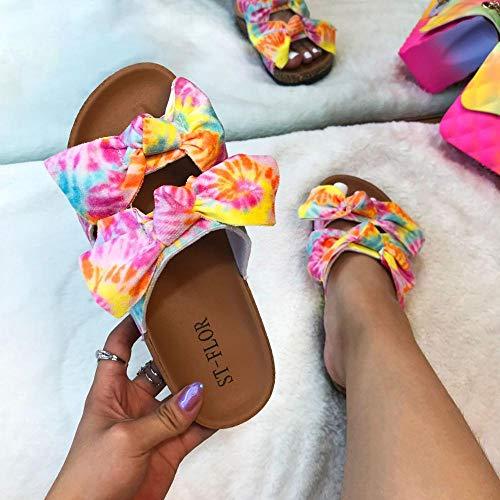 YYFF Zapatillas de Moda de Verano,Sandalias de Corcho de Moda, Zapatillas de Lazo con Estampado-Pink_41,Sandalia Tipo Chancla con