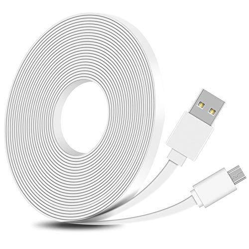 FastSnail 16.4FT Flat Power Extension Cable Compatible with WyzeCam, WyzeCam Pan, KasaCam Indoor, NestCam Indoor, Yi Camera, Blink, USB to Micro USB Charging and Data Sync Cord (White)