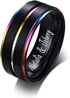 Personalied Stainless Steel Rainbow Lesbian Gay Pride Ring Center Groove Black Step Edge Brushed Finish Wedding Band