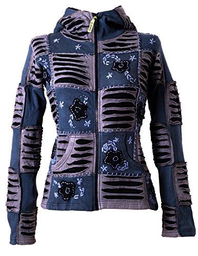Vishes – Alternative Bekleidung – Mit Blumen bestickte Patchwork Jacke aus Baumwolle, mit Zipfelkapuze grau-schwarz 40
