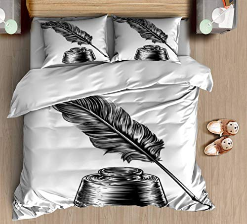 DGAIER Retro Pattern Duvet Cover Set - Writing quill Feather Pen and Ink Well Tattoos - Bedding Set with Pillowcase Gift for Kids Teen Duvet Cover Twin/XL Size