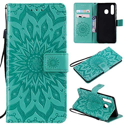 KKEIKO Hülle für Galaxy A8S, PU Leder Brieftasche Schutzhülle Klapphülle, Sun Blumen Design Stoßfest HandyHülle für Samsung Galaxy A8S - Grün