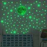 Lorcoo Luminoso Pegatinas de Pared Luna y Estrellas que Brillan en la Oscuridad, Pegatinas de Pared Estrellas Fluorescentes para Techo, 167pcs