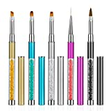 Comius Sharp Pennelli Unghie, 5 Pezzi Pennelli Nail Art Professionali, Pennelli per Unghie Art Design Brush Pen Set, Pennelli per Unghie Spazzola di Arte del Chiodo, 3D Nail Art Brush