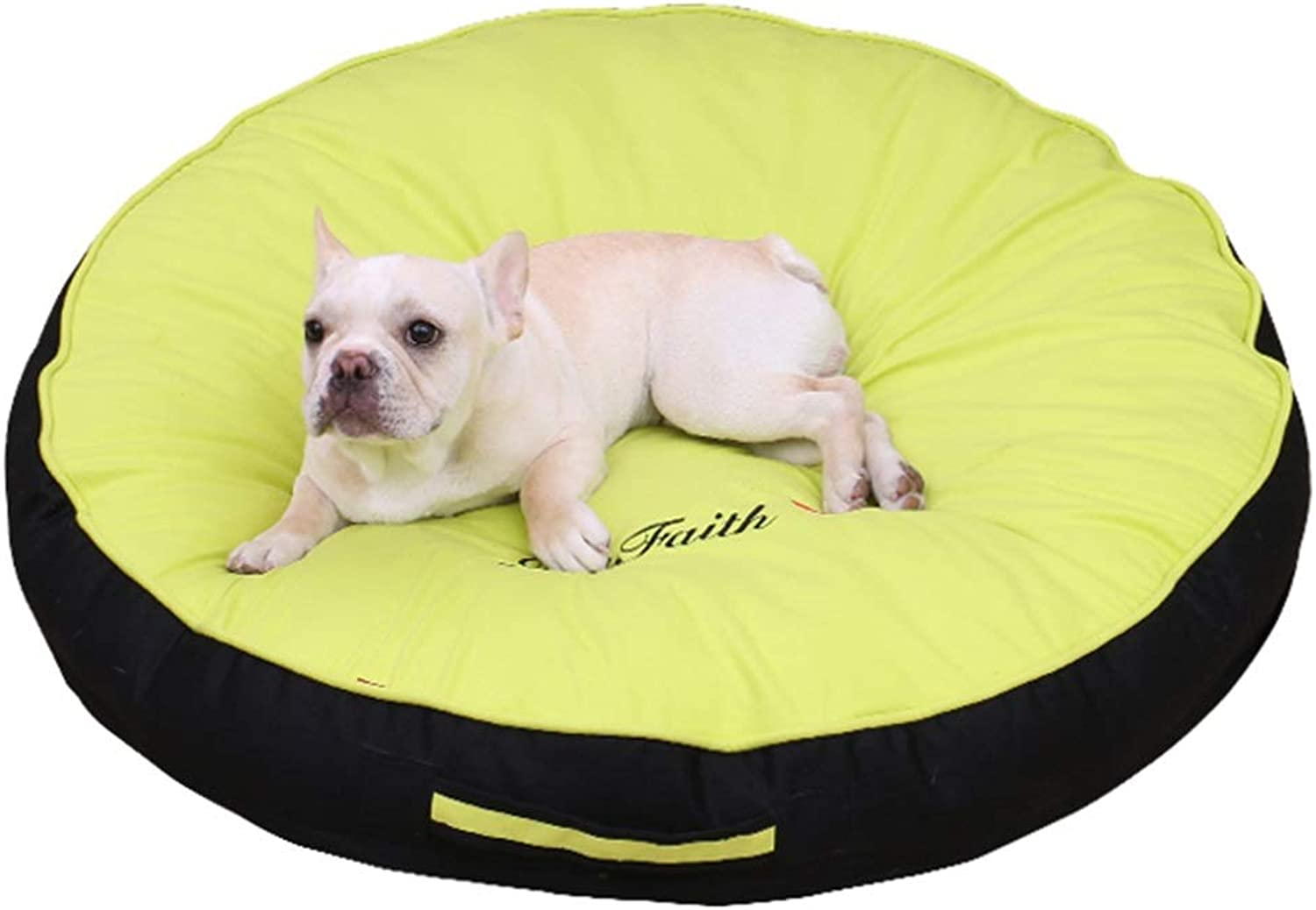 LXLA  Round Cotton Dog Bed Cushion with Handle, Soft Antistatic, Removable and Washable  Fruit Green (Size   M 60×60×10cm)
