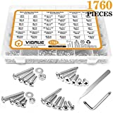 VIGRUE 1,760PCS Screws Bolts Nuts Washers Hardware Assortment Kit (28 Common Sizes SAE&Metric, Nuts, Bolts, Washers & Screws)