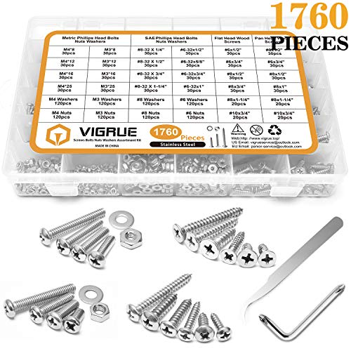 VIGRUE 1,760PCS Screws Bolts Nuts Washers Hardware Assortment Kit (28 Common Sizes SAE&Metric, Nuts, Bolts, Washers & Screws)