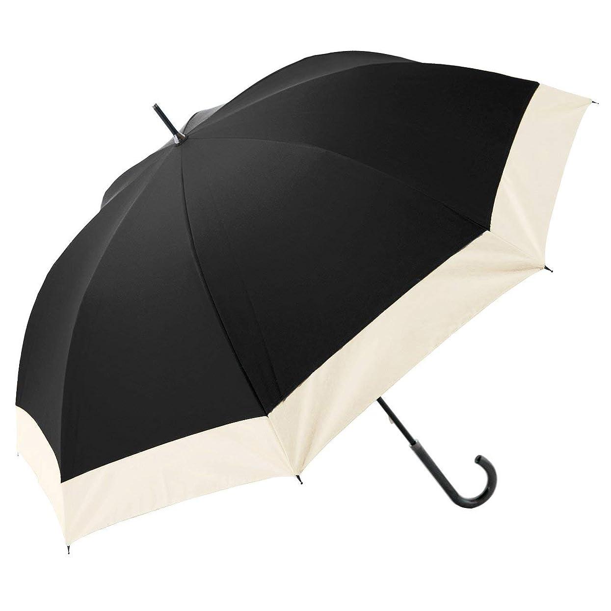 社会主義ビジター放映【Rose Blanc】100%完全遮光 日傘 晴雨兼用 コンビ 男女兼用 メンズサイズ 65cm 19 (ブラック×ベージュ)
