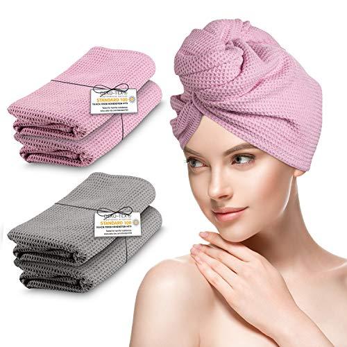 B BY C® Haarhandtuch – [2X] Haarturban in Anthrazit und Altrosa – extra saugfähiges & weiches Mikrofaser Handtuch Haare – Oeko-Tex Zertifiziert