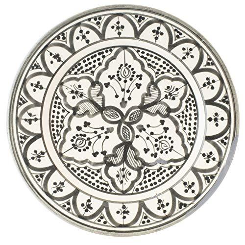 Orientalische Keramikschale Keramikteller Achmet Grau 23cm Groß | farbige marokkanische Keramik Schale Teller rund aus Marokko | Orient große Keramikschalen flach Geschirr orientalisch handbemalt