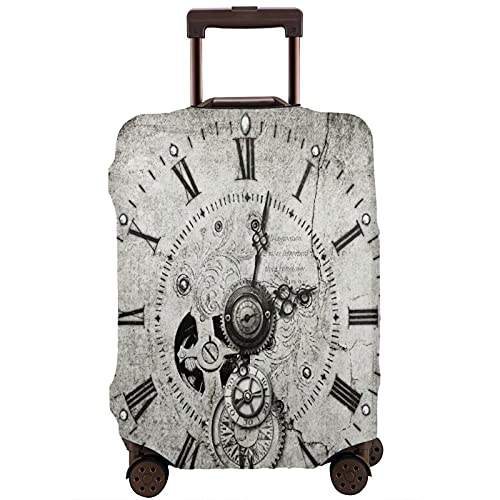 Coprivaligia da viaggio ,Reloj Steampunk, Copribagagli lavabile protettivo elastico con cerniera nascosta adatto per 22-24 pollici -M.