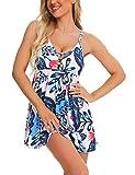 FINWANLO Womens Tankini Swimsuits Tummy Control Swimwear Palm Leaf Printed Two Piece Bathing Suits with Boyshorts Slimming Swimdress