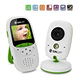SUNLUXY® Wireless Babyphone Baby Monitor Überwachungskamera mit 2,0 Zoll LCD Farb Display Transmitter und Empfänger 2-Wege Audio IR LED Nachtsicht Temperaturüberwachung Gegensprechfunktion, Weiß+Grün