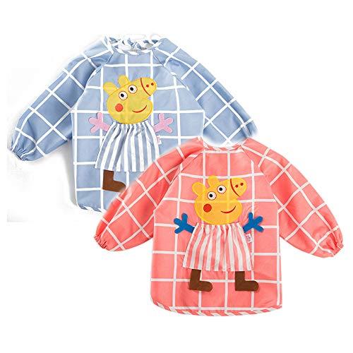 My Sunshine : Lot de 2 Tablier Étanche à Manche Longues Motif Peppa Pig– Bavoir d'alimentation pour Les Enfants de 1 Ans à 3 Ans (Rose-Bleu)
