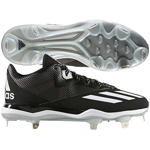adidas Men's Dual Threat Baseball 2 BlackWhiteSilver Metallic 11 D US