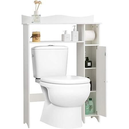 GOPLUS Étagère Dessus Toilette Compacte avec 4 Compartiments et Porte-Papier Hygiénique, Meuble de Rangement Au-Dessus avec Planche Réglable, Étagère supérieure, 75,5 x 19,5 x 106 CM, Blanc