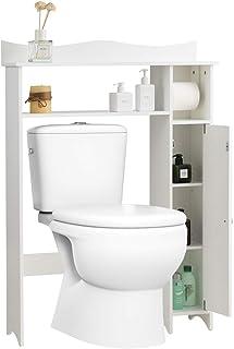 GOPLUS Étagère Dessus Toilette Compacte avec 4 Compartiments et Porte-Papier Hygiénique, Meuble de Rangement Au-Dessus ave...