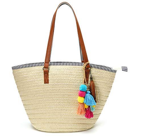 Epsion Stroh-Strandtaschen Tragetasche Quasten Tasche Hobo Sommer Handgewebt Schultertaschen Geldbörse mit Pom Poms, Beige (A-beige), Einheitsgröße