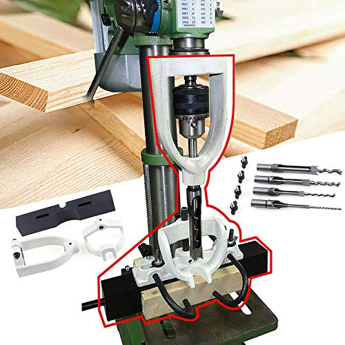 Woodworking Bench Mortiser Square Hole Chisel Drilling Machine Location Tool Tenon Joint Mortising Attachment Chisel Bit Mortise Tenon Drill for Bench Drill Steel USA Stock