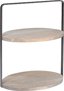 キーストーン ブラッシュドワイヤーテーブルラック オーバル ブラウン W26.3×D18×H32cm IN050287