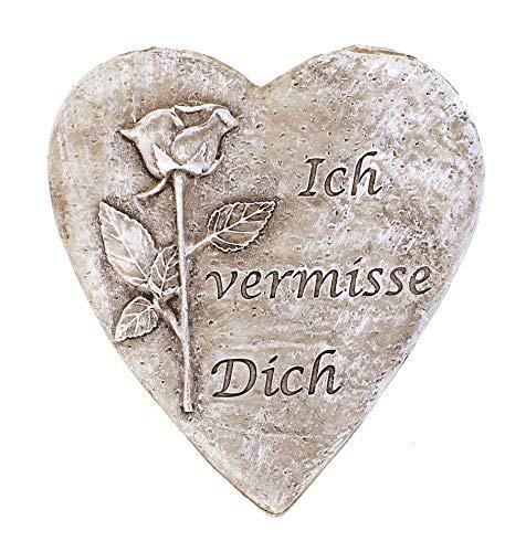 Deko Figur Herz Grabdeko mit Rosen Motiv 10x10 cm, Kunststein antik grau Stein Optik, Grabfigur Herzchen Mit Spruch
