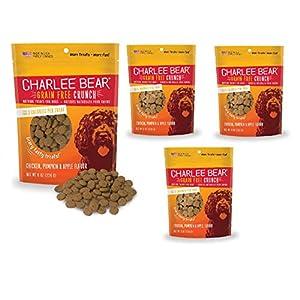 Charlee Bear Crunch Chicken, Pumpkin & Apple Flavor Dog Treat and Snack (4 Pack) 8 oz Each