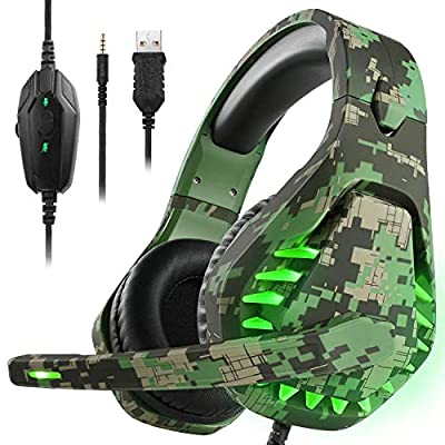 Gaming headset for PS5 Xbox One PC Headphones With Microphone LED Light Noise Cancelling Over Ear Compatible With Nintendo Switch Games Laptop Mac PS4(Camouflage Green)