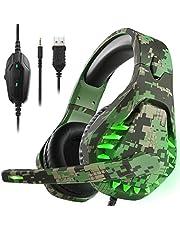 Gaming headset voor PS4 Xbox One PC hoofdtelefoon met microfoon LED licht Noise Cancelling Over Ear Compatibel met Nintendo Switch Games Laptop Mac PS3 (Camouflage Green)