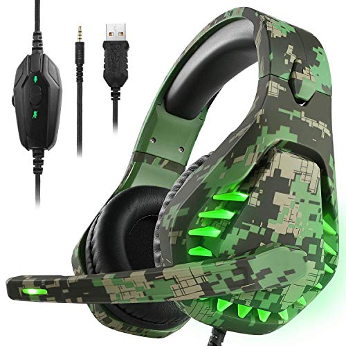 Cuffie da gioco per PS4 Xbox One, con microfono e luce LED, compatibili con Nintendo Switch Games Laptop Mac PS3 (verde mimetico)