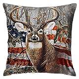 N \ B Dekorativer Kissenbezug mit amerikanischer Flagge, Hirsch, 45,7 x 45,7 cm, 3D-Renning, quadratisch, Doppelbett
