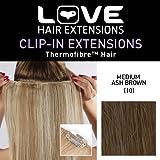 Amor Extensiones de cabello - IPL / K1 / QFC12 / 18/10 - termofibra (TM) - Extensiones Barrette único Clipper - Color 10 - Medium Ash Brown - 46 cm