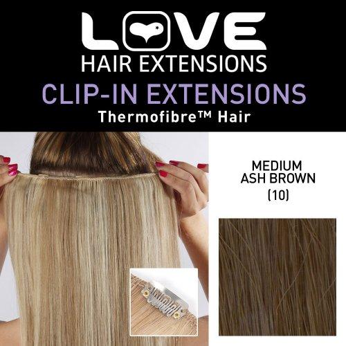 Love Hair Extensions - LHE/K1/QFC12/18/10 - Thermofibre(TM) - Barrette Unique Extensions à Clipper - Couleur 10 - Medium Ash Brown - 46 cm
