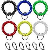 Wrist Keychain - Spring Spiral Stretch Coil Wristband Key Ring Key Chain, for Gym, Pool, ID Badge,Keys