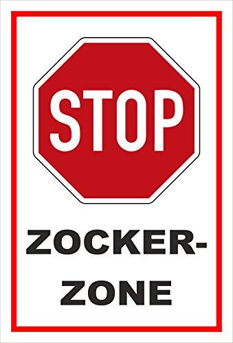 Melis Folienwerkstatt Schild - Stop - Halt - Zocker-Zone – 30x20cm   stabile 3mm Starke PVC Hartschaumplatte – S00357-018-B +++ in 20 Varianten erhältlich