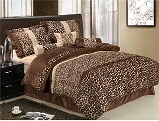 7Pcs Queen Giraffe/Zebra Micro Fur Comforter Set Brown