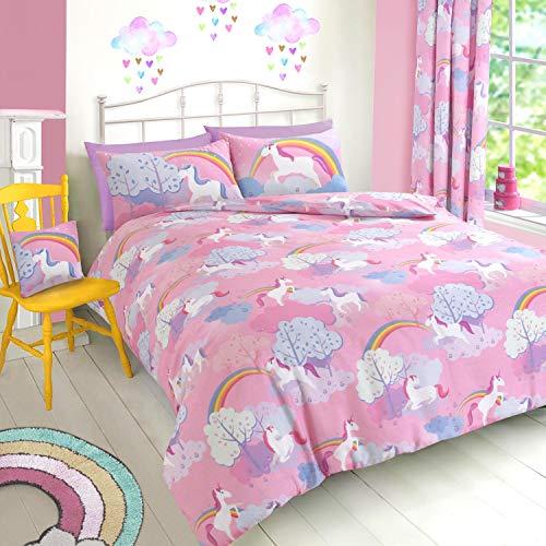 ShawsDirect Unicorn Rainbow Pink Duvet Cover Quilt Cover Set Easy care Girls duvet set (Double)