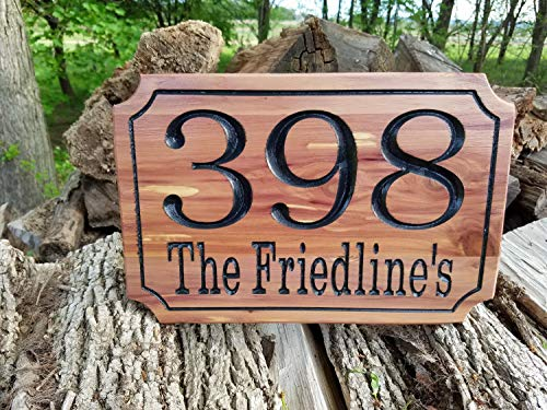 Antonio Ke75 Plaque en bois personnalisable avec numéro de maison, adresse de rue, numéro de maison, numéro de maison, numéro de maison personnalisé en cèdre rouge St4