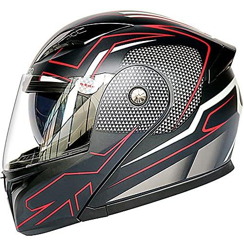 Letetexi Casco Moto Bluetooth Slot Integrado ECE Homologado Casco Motocicleta Integrado Micrófono Incorporado Anti Niebla Visera Doble con Micrófono Incorporado Hombre Mujere 57~64cm