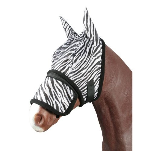Pfiff Fliegenmaske -Zebra- Fliegen-Schutz im Zebra-Look mit abnehmbarem Nasenschutz, Cob und Full