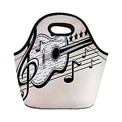 ACOVE Insulated Lunch Tote Bag Country Guitar Notes Music Western Clip Imagery Karaoke Abstract Outdoor Picnic Food Handbag Lunch Box for Men Women Children