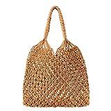 Women's Beach Straw Handbag Woven Tote Fishing Net Beach Bag Large Capacity Mesh Rope Combination Handbag