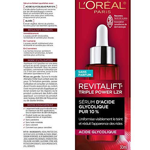 Sérum de cáscara de ácido glicólico para la piel, L'Oreal Paris Revitalift Derm Intensives 10% puro ácido glicólico suero | Corrector de manchas oscuras, tono uniforme, reduce arrugas, exfoliante con aloe, hidrata, 1 oz